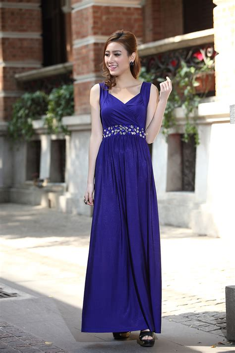 royal blue formal cocktail bead prom party evening maxi