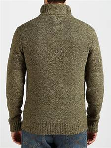 timberland lambswool donegal half zip sweater in olive