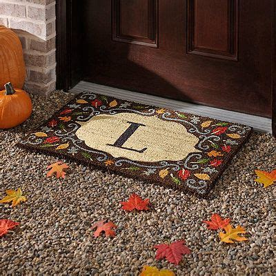 monogram  harvest leaf doormat harvest decorations fall outdoor decor fall doormat