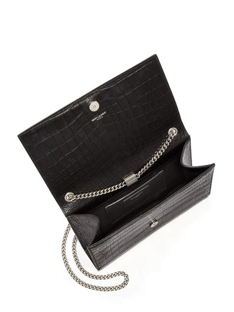 lyst saint laurent medium monogram croc embossed leather