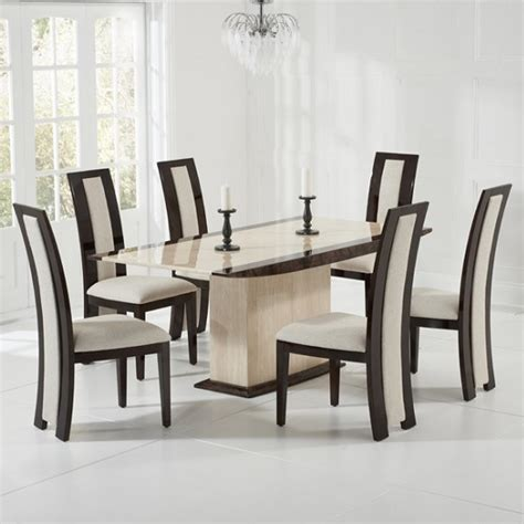 cream marble dining table bentley marble dining table cream and brown with 6 allie