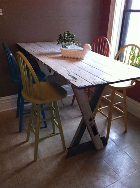 Kitchen Table (bar height), made from 3 doors.   DIY