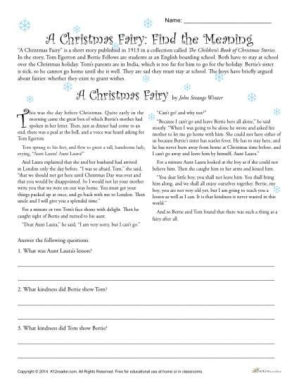 a christmas fairy reading comprehension worksheet