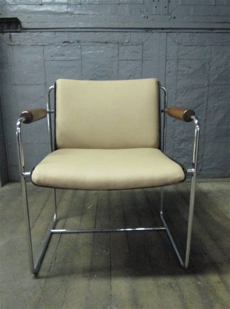 pair unique wood and chrome arm chairs for sale at 1stdibs