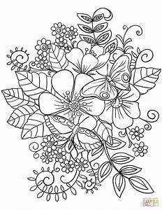 Butterflies On Flowers Coloring Page Free Printable