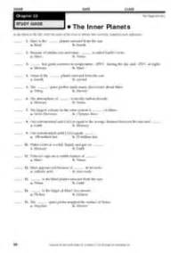 The Inner Planets 4th - 6th Grade Worksheet   Lesson Planet