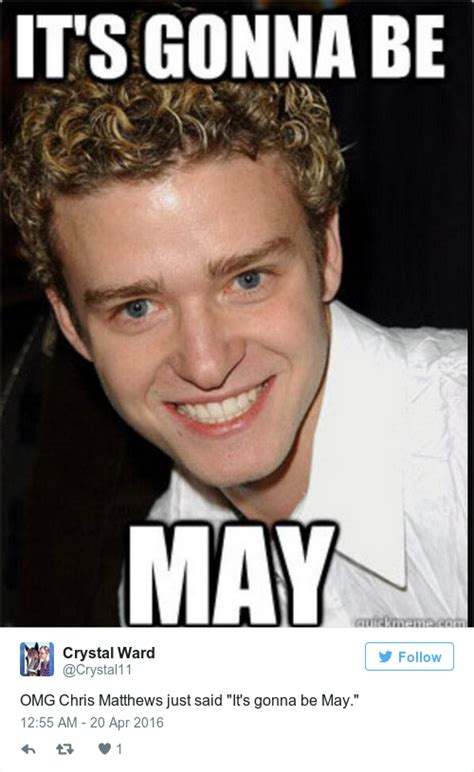 Its Gonna Be May Meme - justin timberlake just excellently poked fun at the it s gonna be may meme