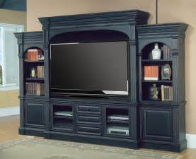 "Parker House Venezia 77"" Entertainment Center 5pc Wall Unit in Vintage Black Finish"