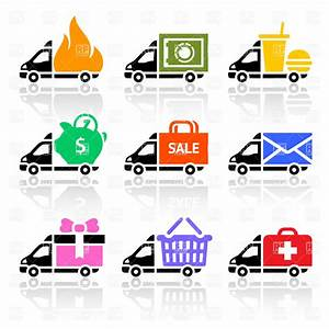 Delivery truck and van simple icons Royalty Free Vector ...