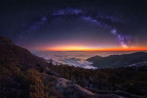 Cloud Landscape Milky Way Nature Night Panorama Sky Starry