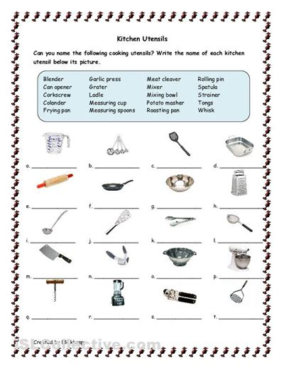 Kitchen Equipment Worksheet Answers by Kitchen Tools And Utensils For Classroom Kitchen