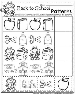cut and paste back to school worksheets back to school worksheets preschool planning playtime