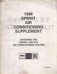 1986 Chevy Sprint Repair Shop Manual Original