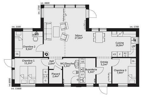 plan de maison plain pied 3 chambres gratuit best plan maison plan de maison plain pied ossature bois