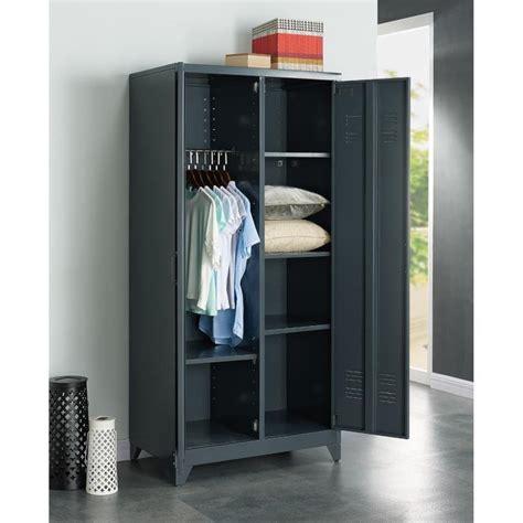 chambre gris foncé aucune camden armoire vestiaire en métal 85 cm gris