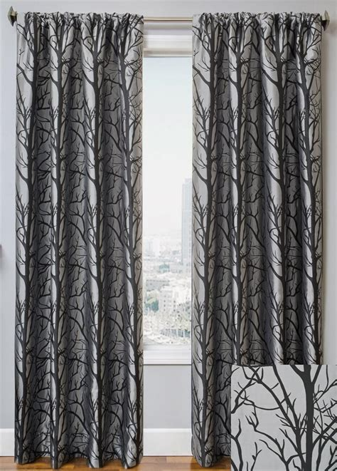 Black And Curtain Panels by 2 Panels Pair Ikea Eivor Curtains Drapes Trees Birds Black
