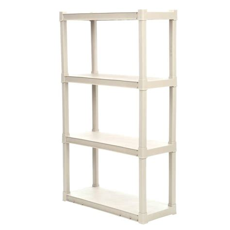 plastic shelving units sterilite 57 in h x 34 5 in w x 14 375 in d 4 shelf plastic shelving unit 1 pack 01643v01