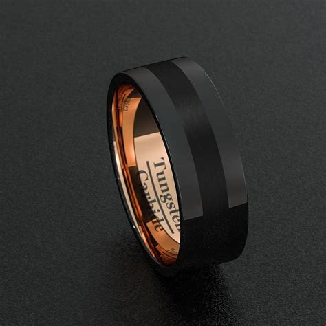 mens wedding band black tungsten ring 8mm rose gold groove matted brushed surface flat cut edge