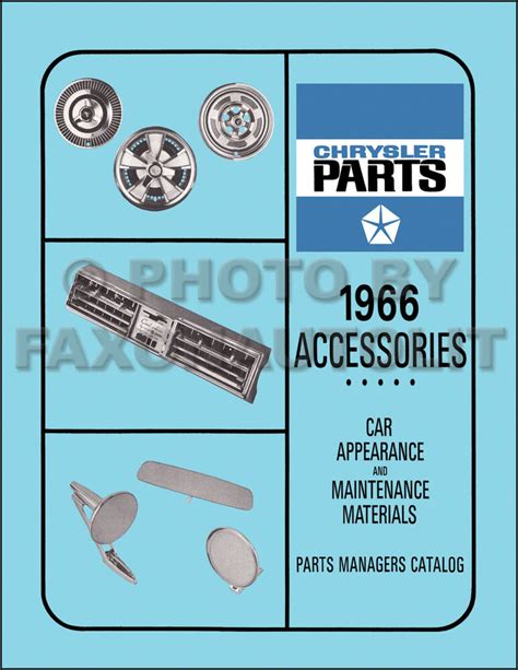 Chrysler Parts Catalog by 1966 Chrysler Accessories Parts Book 300 Imperial New