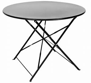 Table Pliante Noire : table de jardin ronde pliante 95cm noir mat 89 salon d 39 t ~ Teatrodelosmanantiales.com Idées de Décoration