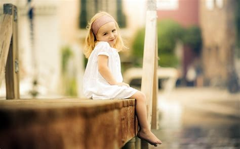 cool child girl  wooden bench wallpaper  hd