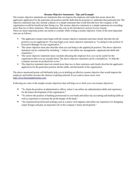 Tips To Write Objectives In Resume by Resume Objective Statement Tips