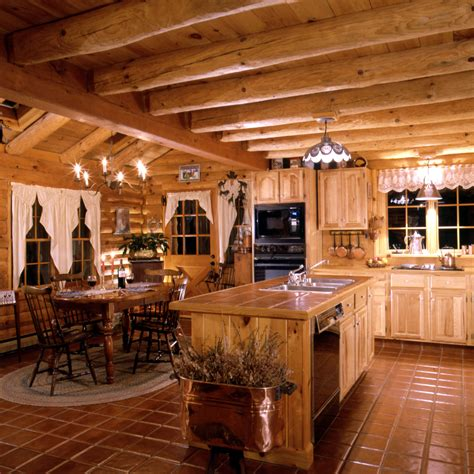 cabin style kitchen cabinets log home kitchens real log style