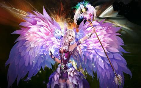 hd purple angel wallpaper