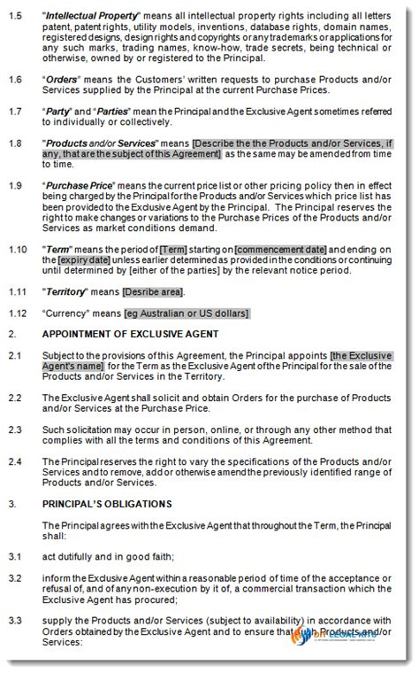 exclusive agency agreement sole agents contract