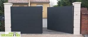 Portail Alu 4m : portail deux battants design plein droit en aluminium ~ Voncanada.com Idées de Décoration