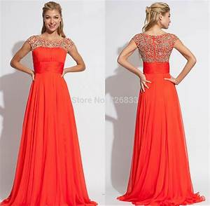 Beaded Cap Sleeves Chiffon Long Orange Prom Gown Dress ...