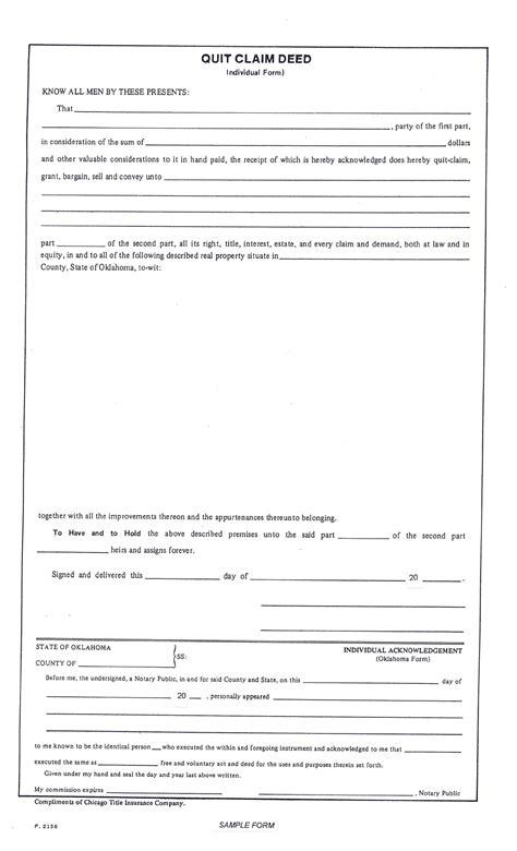 quit claim deed individual form oklahoma
