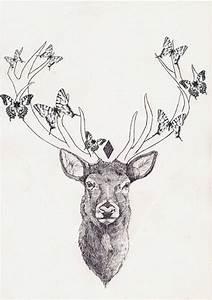 Butterflies On Deer Head Tattoo Design