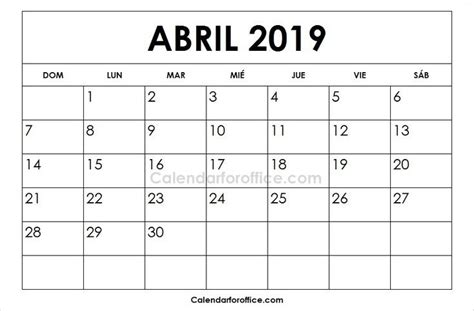 calendario abril imprimir calendar
