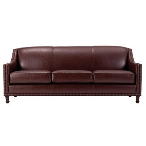home depot sofa home decorators collection rockford leather sofa in brown