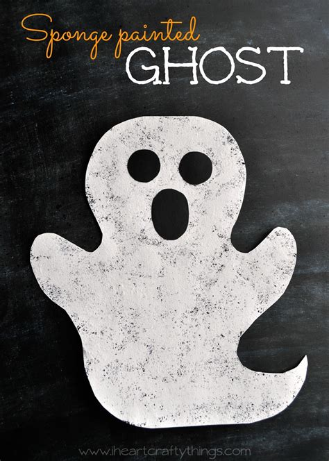 Halloween Sponge Painted Ghost Craft  I Heart Crafty Things
