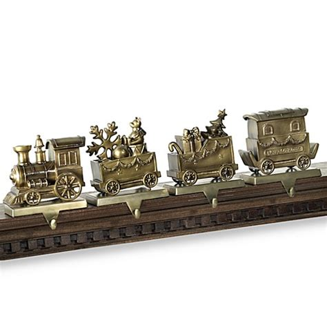 antique brass train stocking hangers set   bed bath