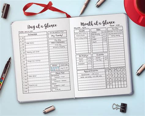 bullet journal month day   glance printable