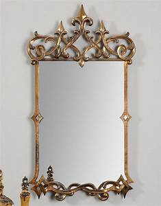 Antique gold gothic old world style wall mirror metal for Antique wall decor