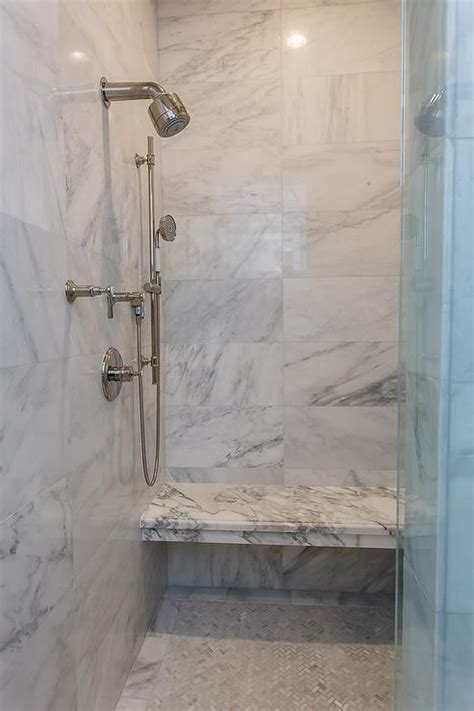 beautiful walk  shower boasts  marble shower surround
