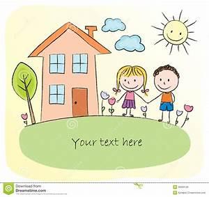 Haus Dekorieren Spiele Kostenlos : kinder die vor dem haus spielen vektor abbildung bild ~ Lizthompson.info Haus und Dekorationen