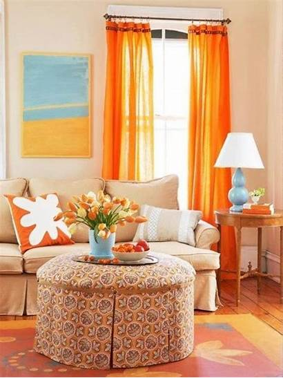 Living Curtain Colorful Orange Lively Bright Decorating