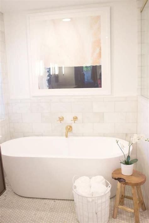 spa  bathroom  oval tub  wall mount gold tub
