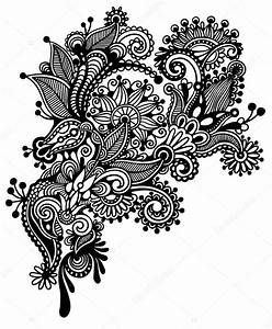 hand draw black and white line art ornate flower design With design art black and white