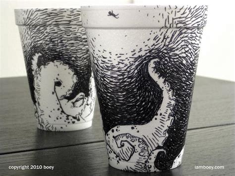 incredibly intricate  detailed coffee cups illustration