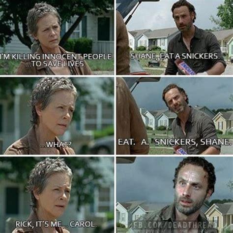 Walking Dead Memes Season 4 - the walking dead snickers rick carol s4 walking dead pinterest walking dead the o jays