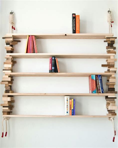 stylish wood bookshelf   wood blocks captivatist