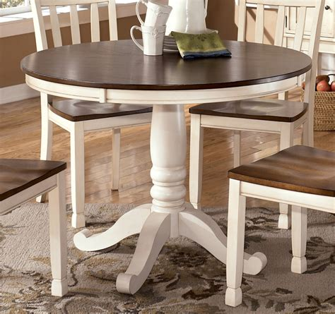 Whitesburg Round Dining Table In Brown  White By Dining