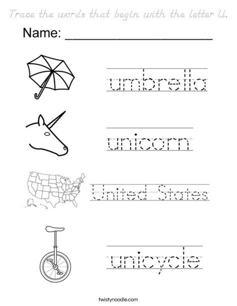 words that start with the letter d trace the words that begin with the letter u coloring page