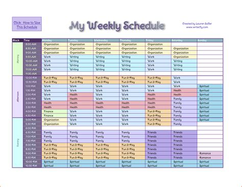weekly schedule template excel task list templates